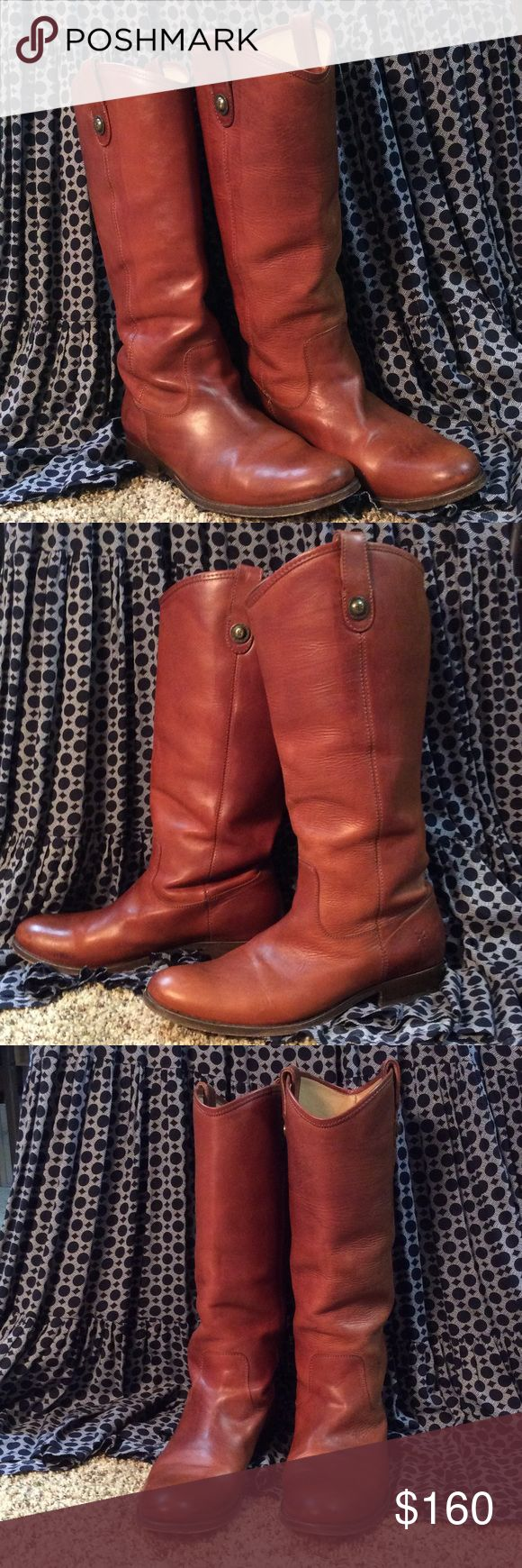 Frye Melissa button boot Cognac size 10, worn lightly EUC frye Shoes Heeled Boots