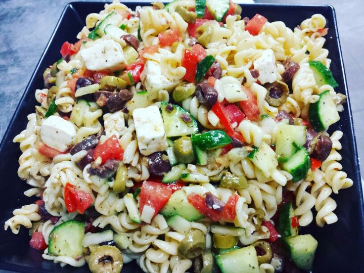 Quick, Easy and healthy #Greek #pasta #salad   #greek_pasta_salad with feta cheese  follow me on Instagram https://instagram.com/cbountos/