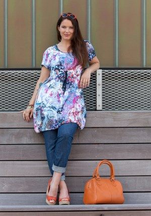 exelle dress-tunic in blue-violet print