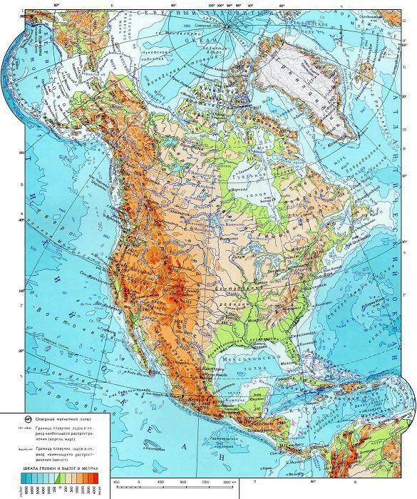 Физическая и политическая карта Северной Америки на русском. [952] | Полезное