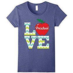 Women's Love Preschool Teacher T-Shirt Funny Gift for Teacher Medium Heather Blue