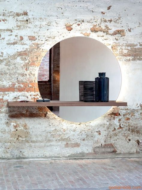 Sunset 7501 | Spiegel mit Regal aus Holz in Canaletto-Nussbaum