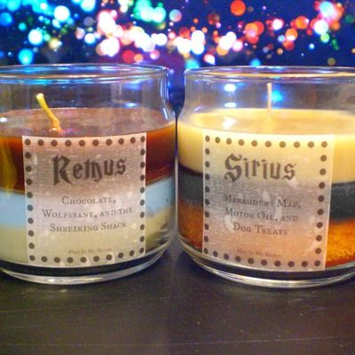Sirius and remus 4oz candles- marauders map, motor oil, and dog treats- chocolate, wolfsbane, and the shreiking shack