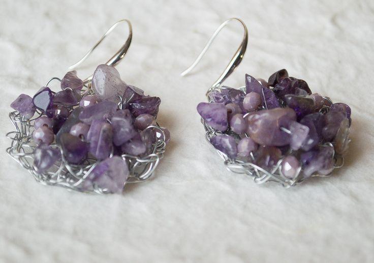 Crochet wire Earrings/ silver wire earrings/Handmade wire earrings/ Valentine's gift earrings/ Amethyst Earrings/ Dangle Earrings by UnikacreazioniShop on Etsy
