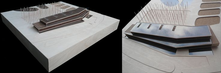 CENTRO DE DEPURACIÓN DE AGUAS, SEVIILA. Javier Terrado  MEDIDAS: 50 x 50 cm  ESCALA: 1/300   MATERIALES: Chapa de abedul,nogal, policarbonato y lija.