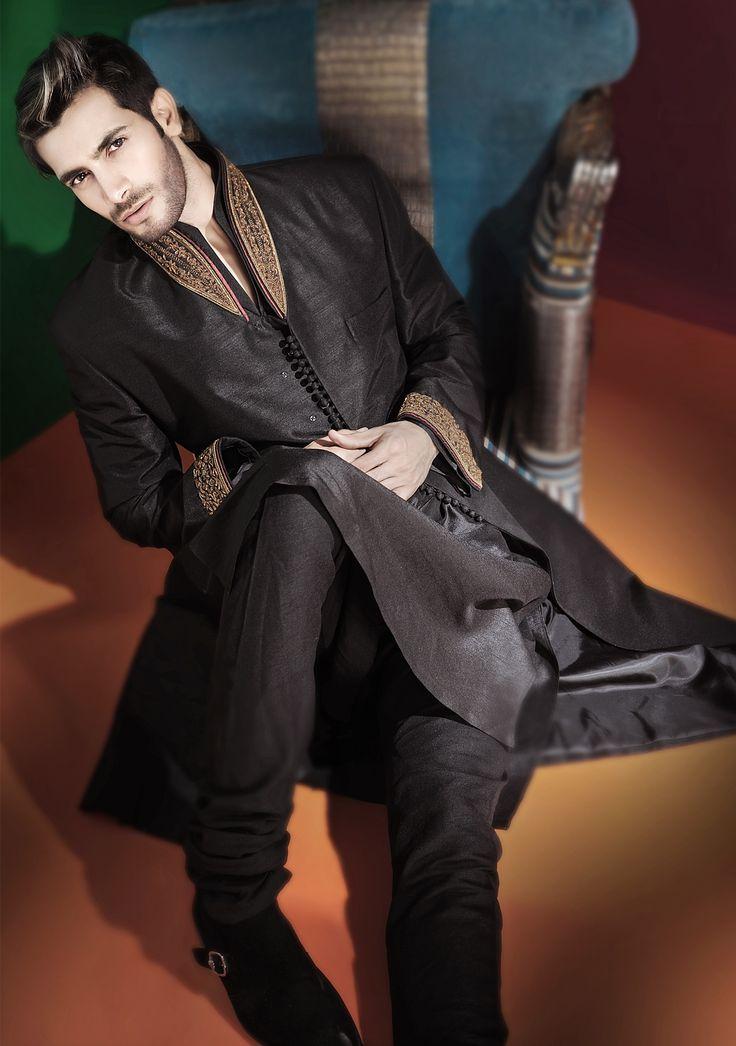 Raw silk black straight cut. Amir Adnen