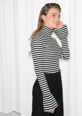 & Other Stories image 2 of Trumpet Sleeve Turtleneck Top in Stripe