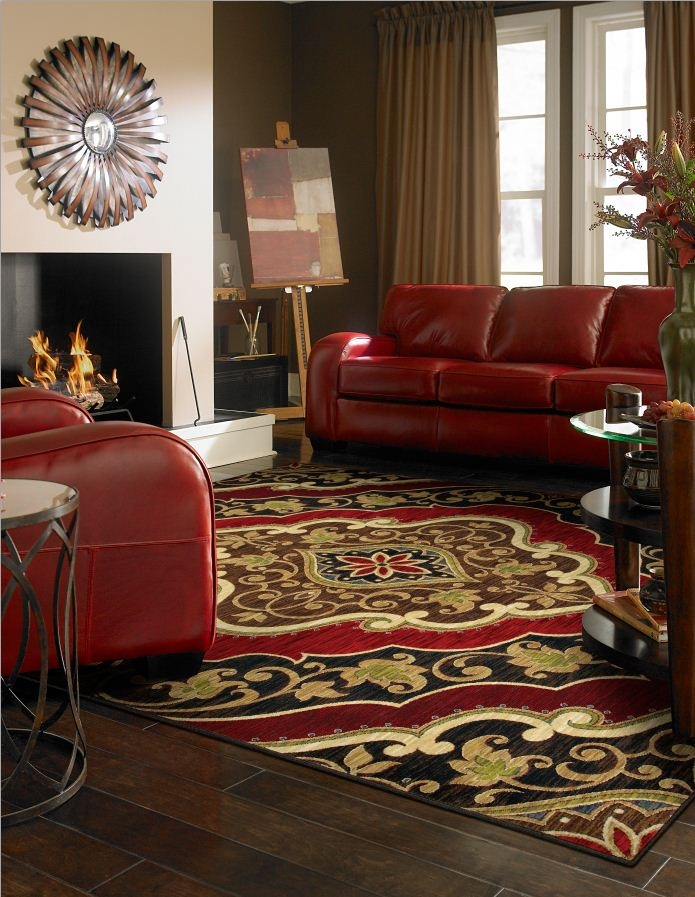 Shaw Living area rug in the Mirabella collection, style Andora, color Red. Such an inviting space!