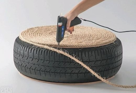 Puff de pneu e corda – passo a passo: Crafts Ideas, Old Tires, Diy Crafts, Ropes, Ottomans, Craft Ideas, Diy Projects