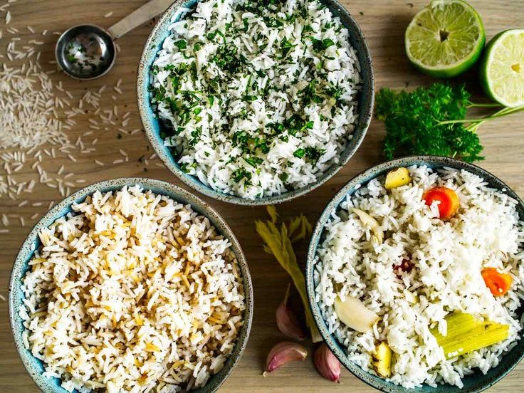 3 simple ways to liven up rice! Left: toast the rice prior to cooking + sesame oil & soy sauce.Middle: add herbs & lime juice. Right: cook in aromatics such as garlic and ginger!     All 3 recipes in one post. Plus method for perfect, fluffy rice!     #rice #recipes #easy #herbs #lime #basmati #simple #ways #how #to #cook #make #cilantro #lime #bowl #flavoured #vegetarian #vegan #savoury #vegetable #white #recipe