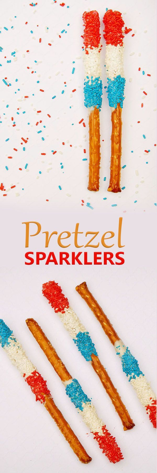 Pretzel Sparklers are so much fun for Fourth of July Dessert. Red, white, and blue sprinkles cover white chocolate dipped pretzel sticks to make a patriotic treat. Step-by-step photo tutorial included.