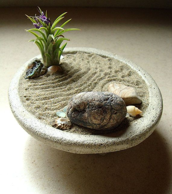 Peaceful ZEN Garden Concrete Planter and Air Plant by MyZen.  Made out of concrete.  $44.95 and comes with an air plant.