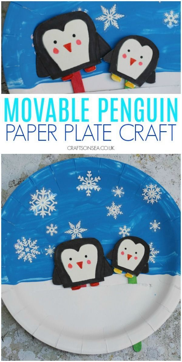 Movable Penguin Paper Plate Craft Paper Plate Crafts Winter