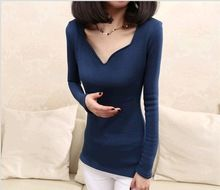 D86183H europe autumn and winter women long sleeve v-neck t-shirt  best buy follow this link http://shopingayo.space