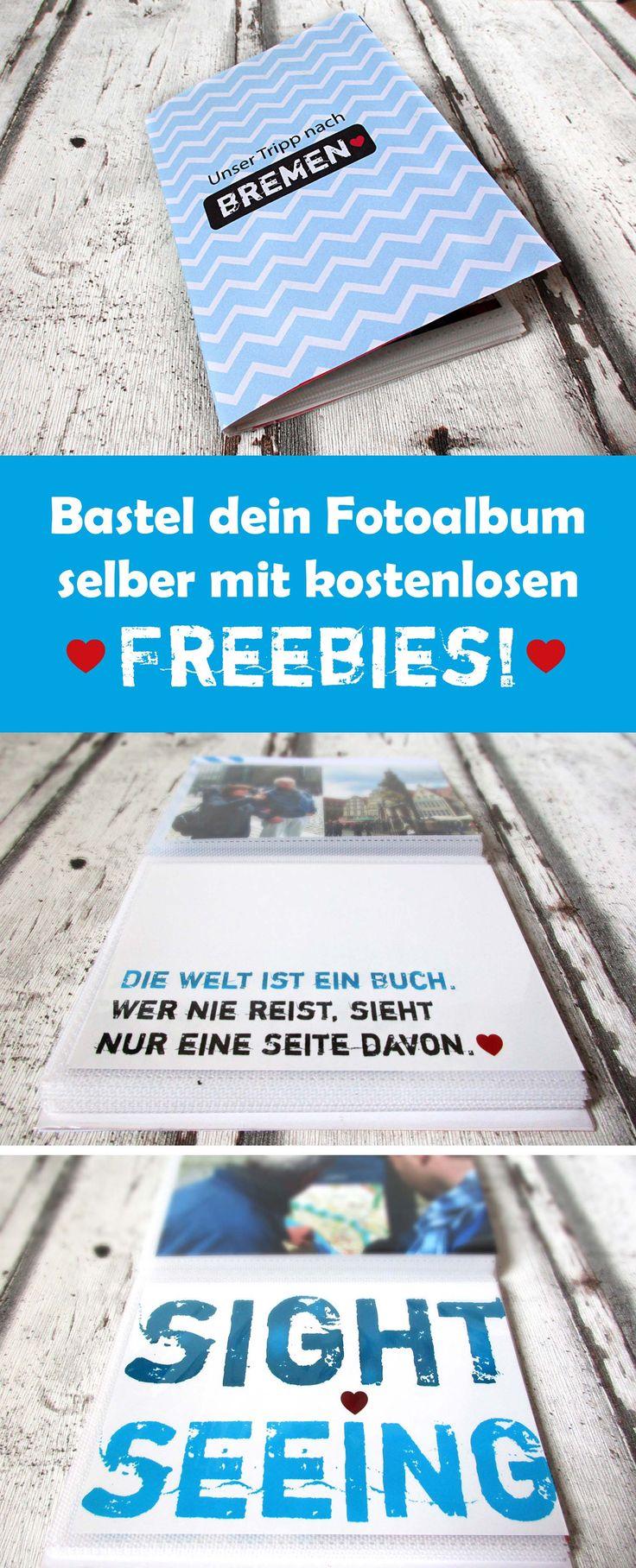 So kannst du dein #Fotoalbum ganz einfach selber #basteln - einfach Fotos aussuchen, Freebies ausdrucken und los geht´s! :) #scrapbooking
