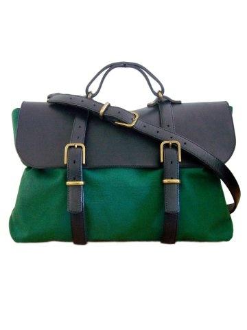 Steve Mono. Oscar Mix leather briefcase. Black and green.  #Fashion #Men  #Briefcase