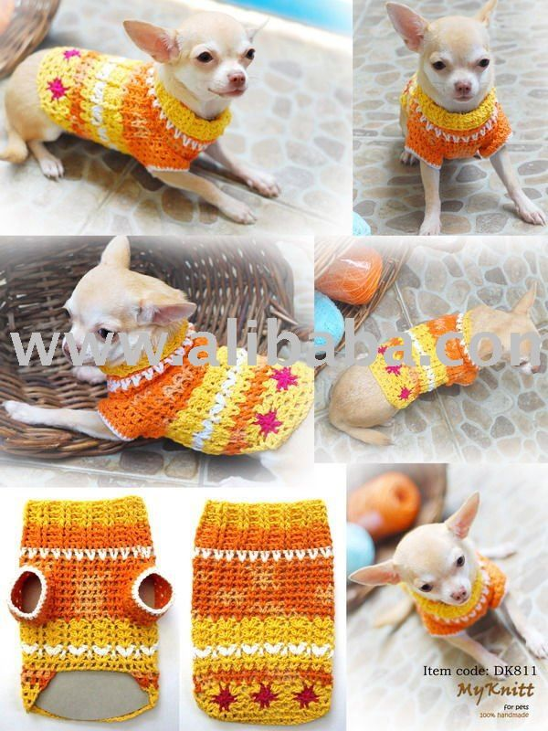 Hand Knit Crochet Dog Clothes