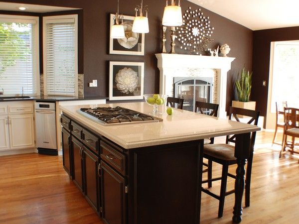 hgtvDecor, Wall Colors, Ideas, Traditional Kitchens, Dark Brown, Living Room, Brown Wall, Painting Colors, Chocolates Wall