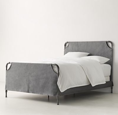 RH TEEN's Vox Iron Slipcovered Bed:Minimalist industrial design makes a major statement with our tubular steel bed. The headboard and footboard are fitted with a canvas slipcover, leaving the frame corners exposed.