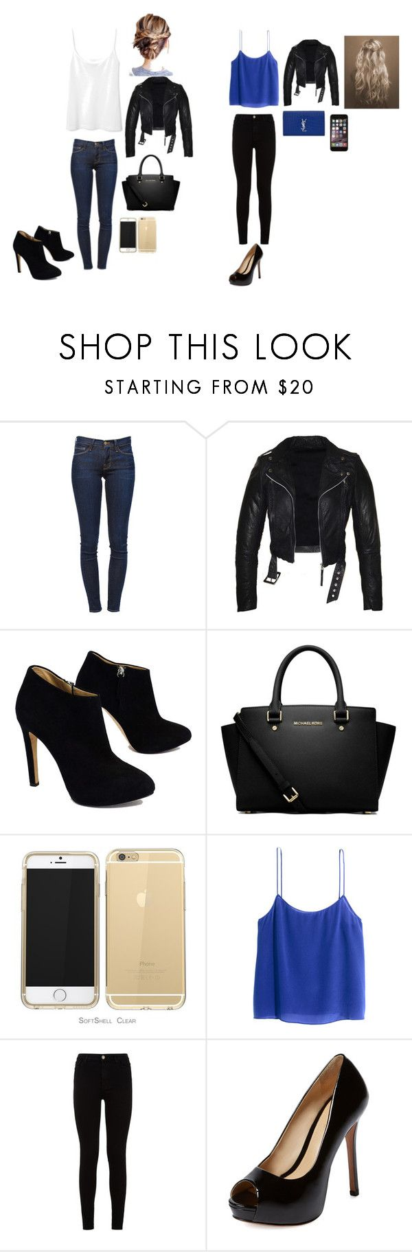 """""""Party and outing outfit"""" by ciani-johnson on Polyvore featuring Frame Denim, Giuseppe Zanotti, MICHAEL Michael Kors, H&M, 7 For All Mankind, Schutz and Yves Saint Laurent"""