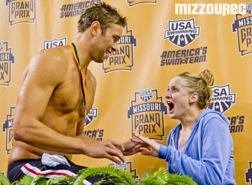 Olympic Gold Medalist Matt Grevers Proposing To His Friend Annie On The Winners Podium