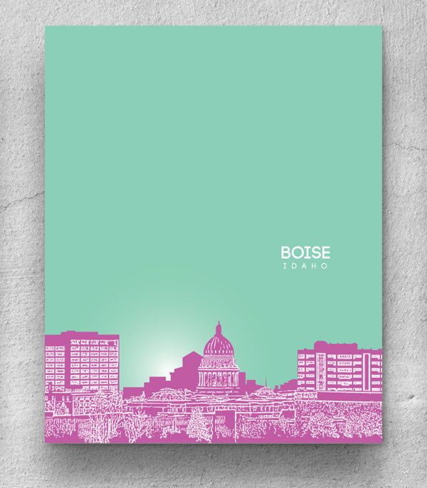 Boise Idaho Cityscape Skyline / Gift for Dad by YouandYoursPrints, $22.00