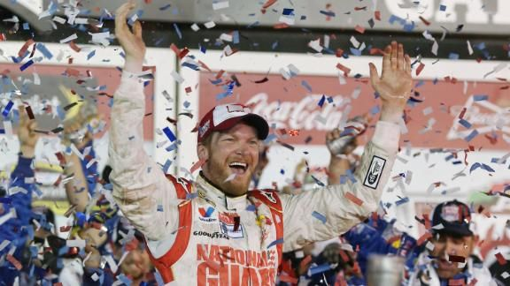 Dale Earnhardt Jr. won the Daytona 500 Great American Race after a decade from his first win. Two time champ, we're so proud! #racing