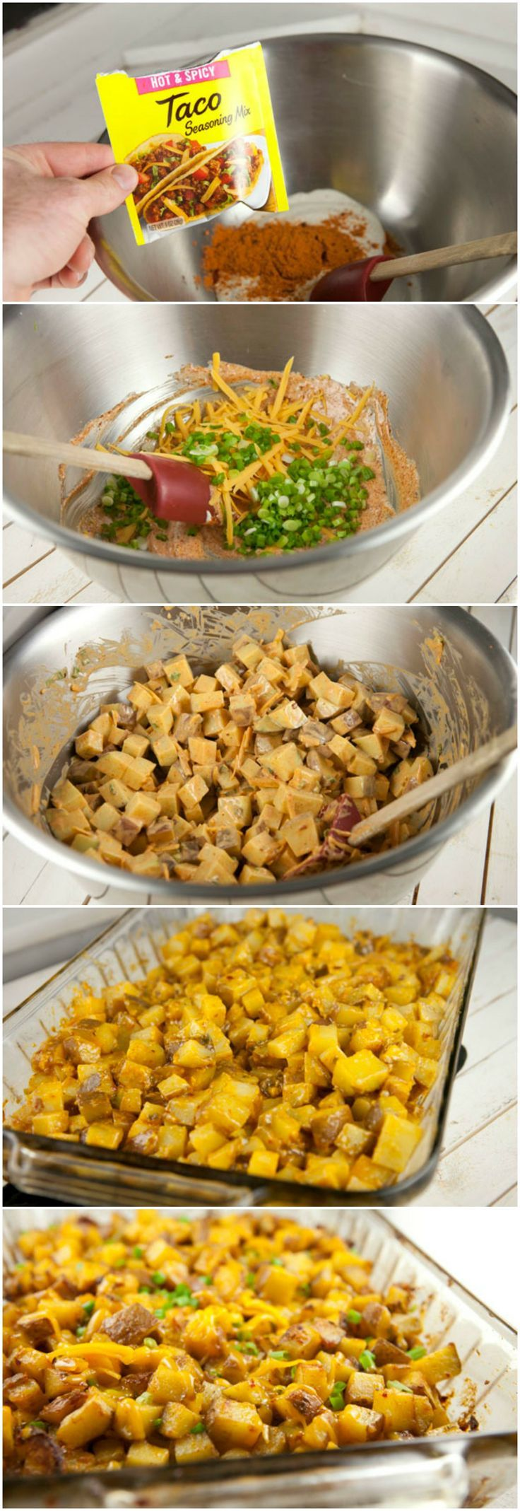 Tex-Mex Ranch Potatoes: 2 lb potatoes, 2 Tb taco seasoning, 1/2 c ranch dressing, 1/2 c cheddar cheese, 1/2 c crumbled bacon, 4 green onions.