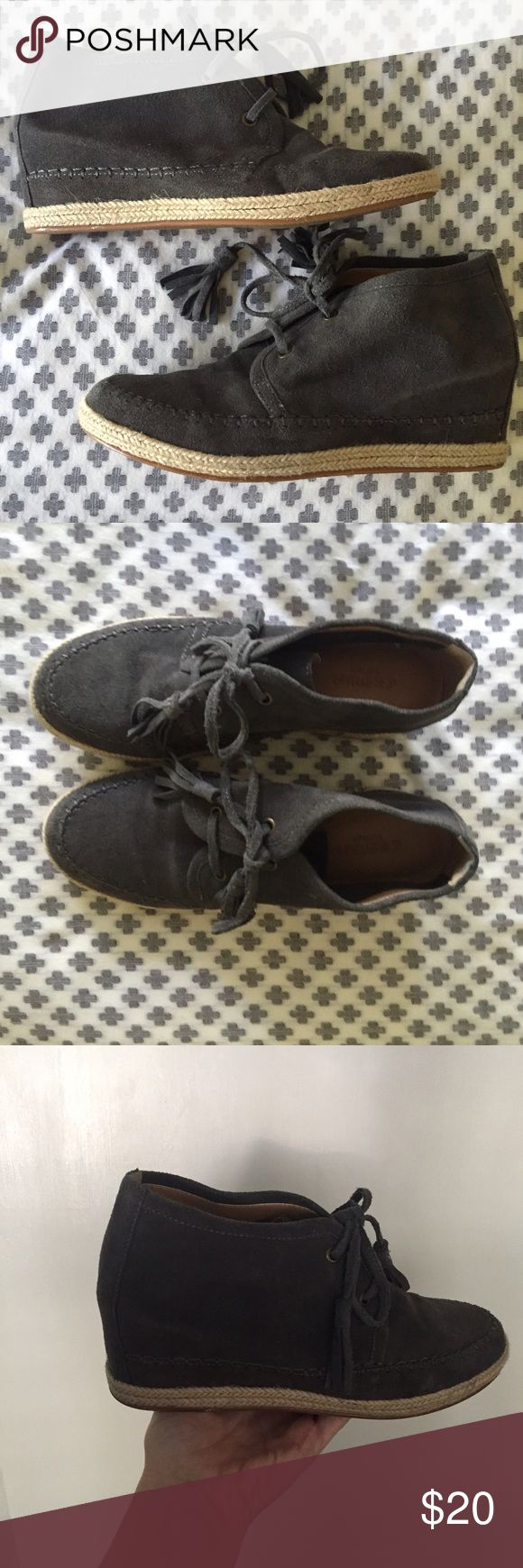 """Crown Vintage Slate Grey Espadrilles Wedges Very cute suede grey espadrilles wedges - prefect with jeans a cute too. The have the espadrille detail at the bottom, tassel laces and a 2.5"""" wedge heel. They are gently worn and ready for a few more seasons. Crown Vintage Shoes Wedges"""