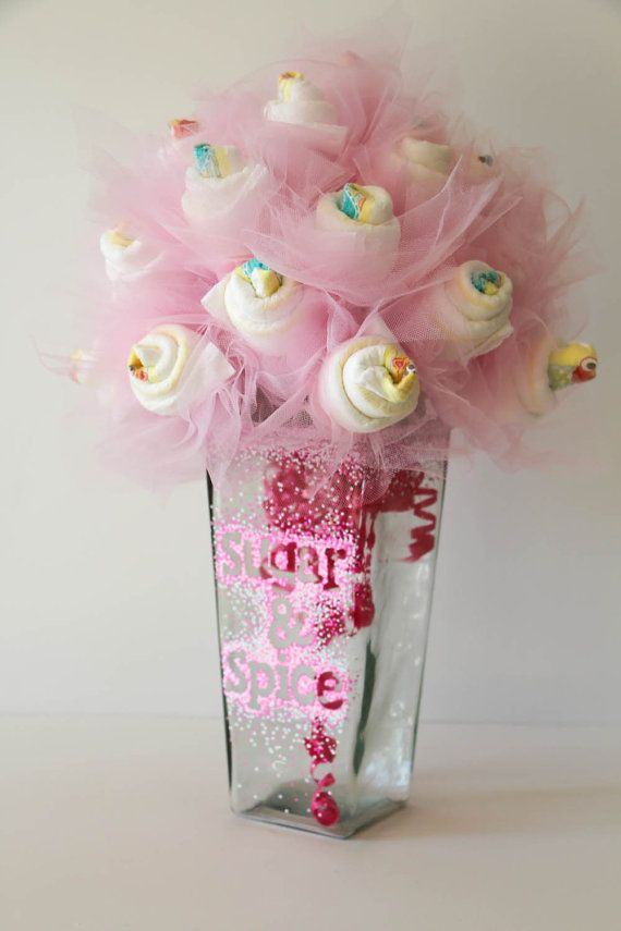 Diaper bouquet with hand decorated vase by for Pink diaper bouquet