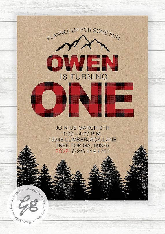 Lumberjack Birthday Party Invite, Wilderness, Lumber Jack Invitation, Red…