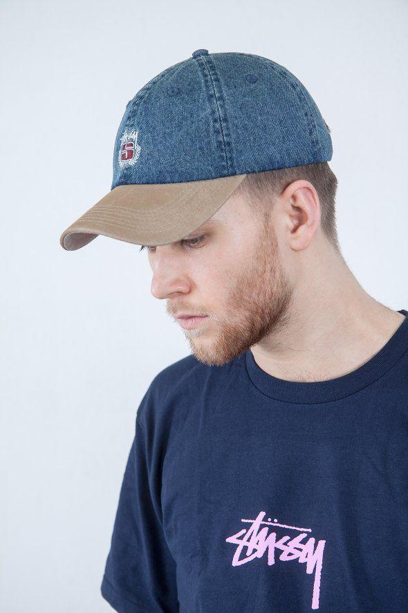 Stüssy - Denim Suede Crest Cap,  stussy, , curve, cap, hat, blue, trend, style, fashion, 2017, hat, blue, outfit, logo, black, accessories, orange, low, denim, jeans,