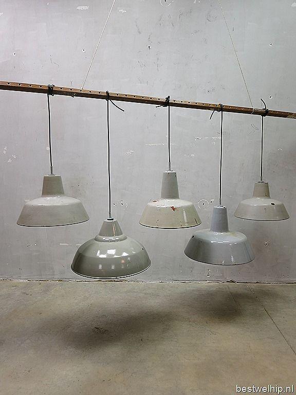 Industrial vintage lamps, vintage lampen industrieel emaille authentiek loft
