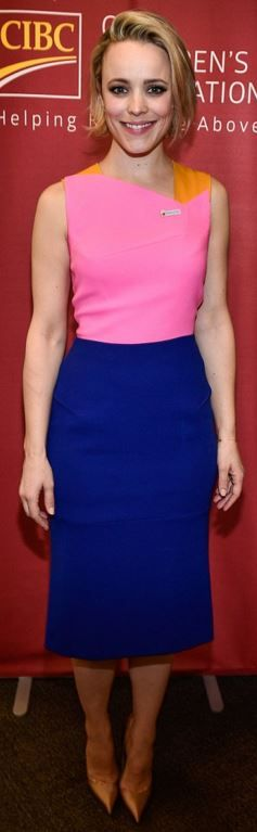 Who made Rachel McAdams' pink, blue, and yellow dress?