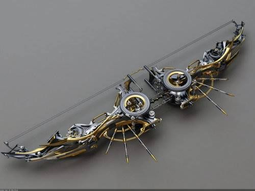 A compact steampunk bow. You know you want one.  Yeah, I do want one...for SR.