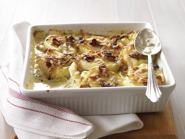 A classic family favourite, this hearty and creamy potato and pancetta bake is beautiful served hot straight from the oven. It makes a beautiful side dish to a big dinner spread.