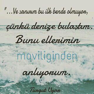 ..Ve sanırım bu ilk bende olmuyor, çünkü denize bulaştım. Bunu ellerimin maviliğinden anlıyorum.  - Turgut Uyar