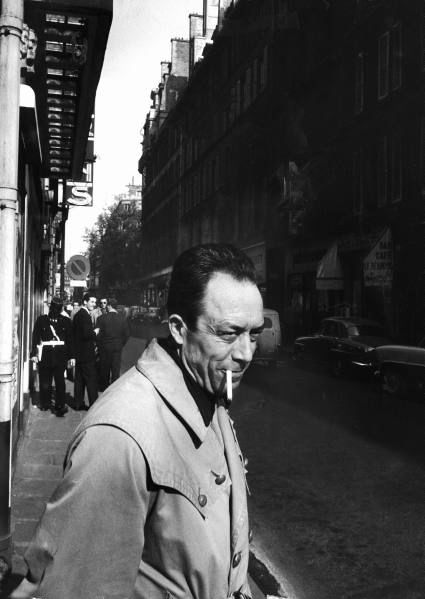 "Loomis Dean - Albert Camus in Front of the Theatre des Mathurins During Rehearsals for a Performance of His Play ""Caligula,"" Paris 1957."