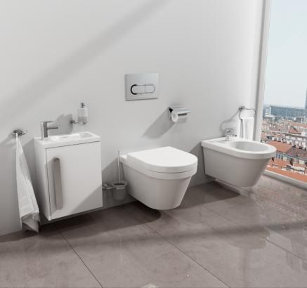 New Chrome line extensions revealed: ceramic water closet, bidet and accessories! http://www.ravak.com
