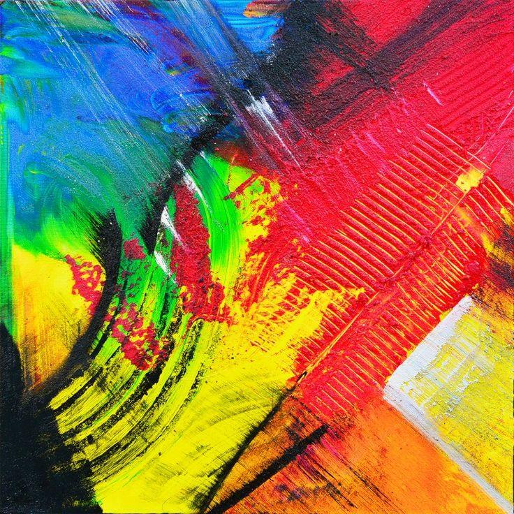 Dit is een: Acrylverf op doek, titel: 'Abstract Tiny en Peko blauw rood geel' kunstwerk vervaardigd door: Tiny de Bruin