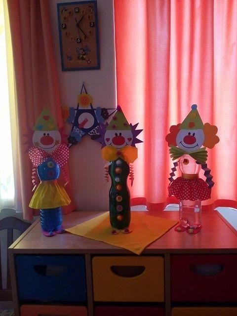 * Clowntjes gemaakt van verschillende lege plastic flessen!