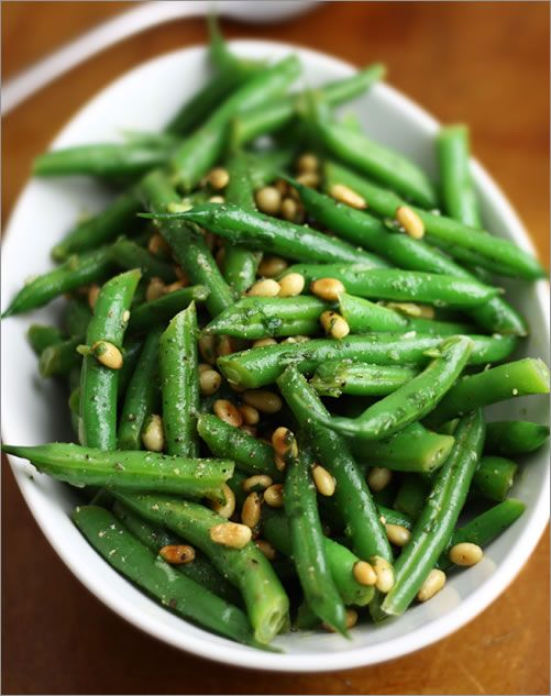 Green Beans with Pine Nuts and Basil | Recipe | The cheese, Cherry ...