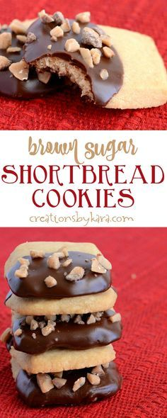 Brown Sugar Shortbread Cookies dipped in chocolate and sprinkled with toffee. A perfect cookie recipe. via creationsbykara.com #shortbread