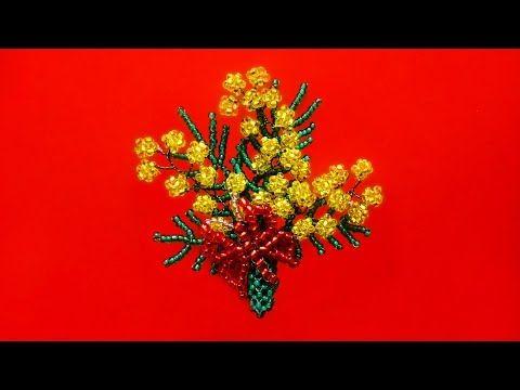 Ветка мимозы из бисера - YouTube