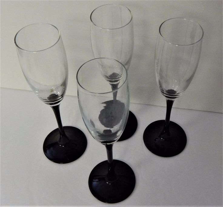 LUMINARC Black Stem Domino Champagne Flute Wine Glass France set of 4 #LUMINARC