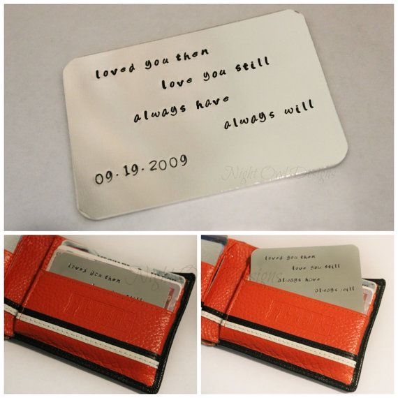 Hand Stamped Mens Wallet Card Insert Personalized