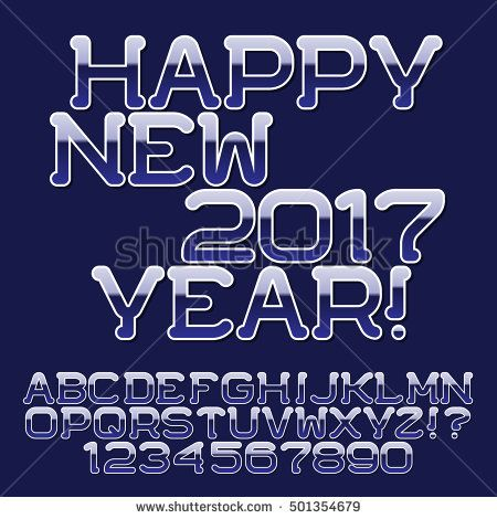 Blue gradient #letters and numbers. Stylish holiday #font. Isolated english #alphabet text Happy New Year.