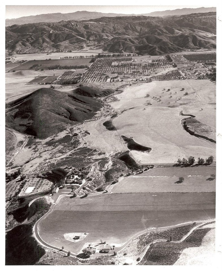 Here's an aerial photo taken on November 7, 1959. It is a view looking from south to north across Simi Valley. The structures at the bottom half of the photos, roughly in the center are the small house(bottom most) and the main house (more center) of the Marr Ranch, which was located north of Alamo and East of Tapo Street. At the top of the photo, slightly to the right of the center was the Rocketdyne test site.