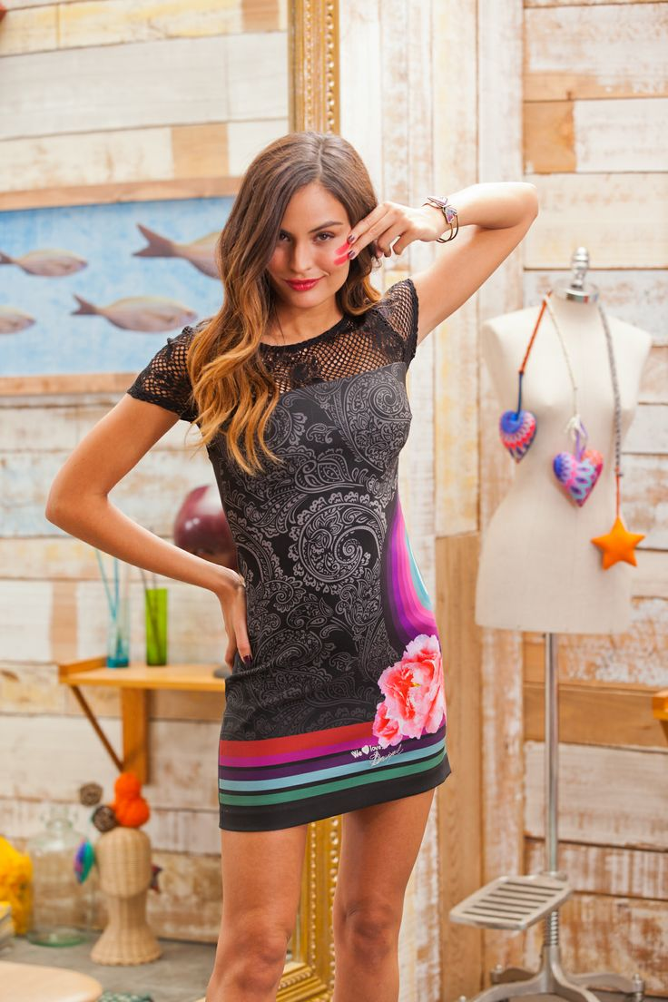 Desigual women's La La dress with an open weave section at the top and several prints on the front. Slim fit.