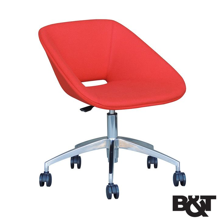 B&T Red Office Chair The Red Office Chair features polyurethane bedding is injection molded into a metal frame supported by steel springs and stainless steel legs. Upholstered shell choices of eco-lea